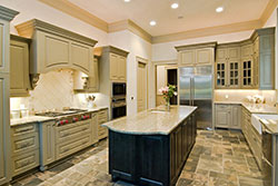 Granite kitchen green cabinets - Mesa Mesa